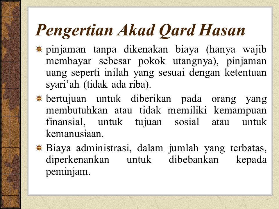 Pengertian Akad Qard Hasan pinjaman tanpa dikenakan biaya (hanya wajib membayar sebesar pokok utangnya), pinjaman uang seperti inilah yang sesuai dengan ketentuan syari'ah (tidak ada riba).