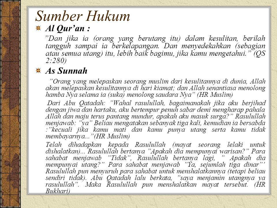 Sumber Hukum Al Qur'an : Dan jika ia (orang yang berutang itu) dalam kesulitan, berilah tangguh sampai ia berkelapangan.