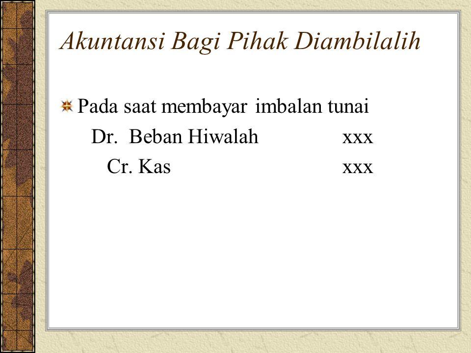 Akuntansi Bagi Pihak Diambilalih Pada saat membayar imbalan tunai Dr. Beban Hiwalahxxx Cr. Kasxxx