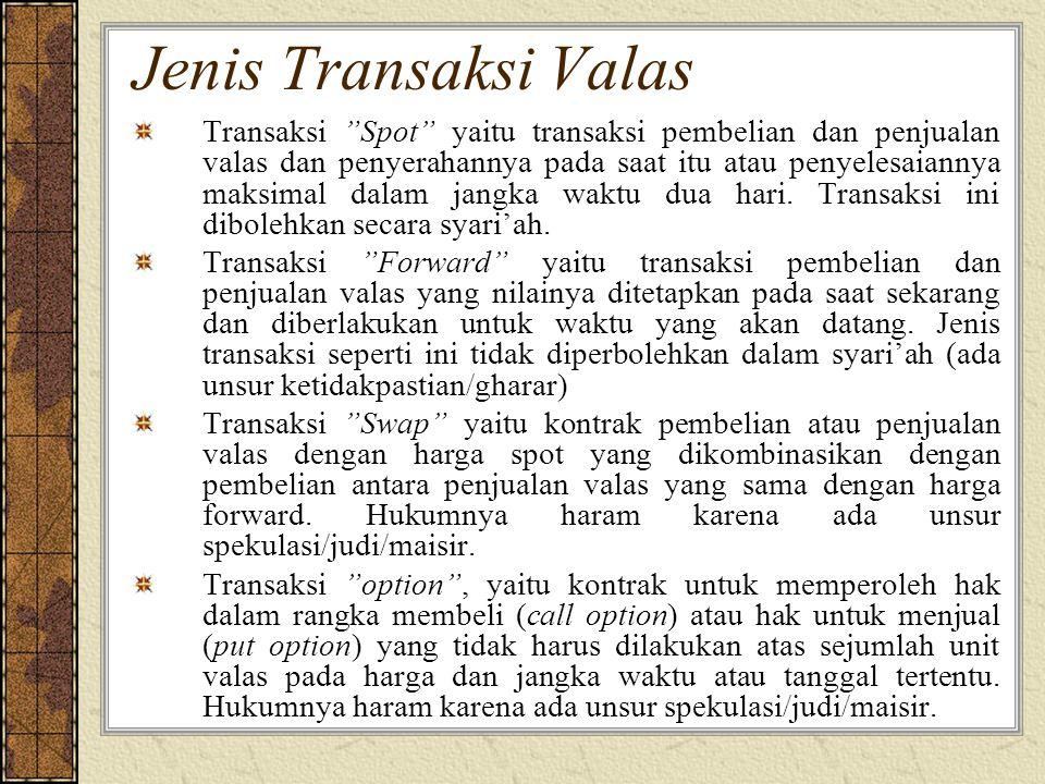 Transaksi Valas sesuai Syariah dilakukan secara tunai tidak digunakan untuk tujuan spekulasi boleh menyimpan valas untuk kebutuhan transaksi dikemudian hari