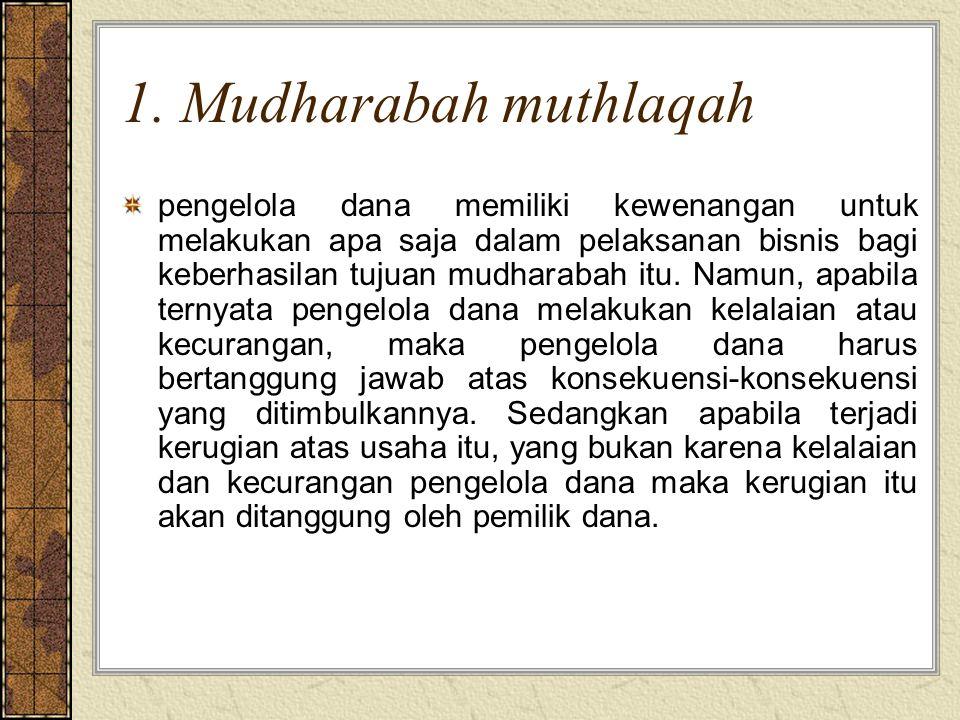 1. Mudharabah muthlaqah pengelola dana memiliki kewenangan untuk melakukan apa saja dalam pelaksanan bisnis bagi keberhasilan tujuan mudharabah itu. N