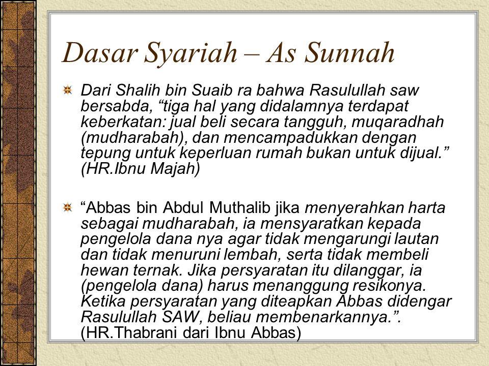 """Dasar Syariah – As Sunnah Dari Shalih bin Suaib ra bahwa Rasulullah saw bersabda, """"tiga hal yang didalamnya terdapat keberkatan: jual beli secara tang"""