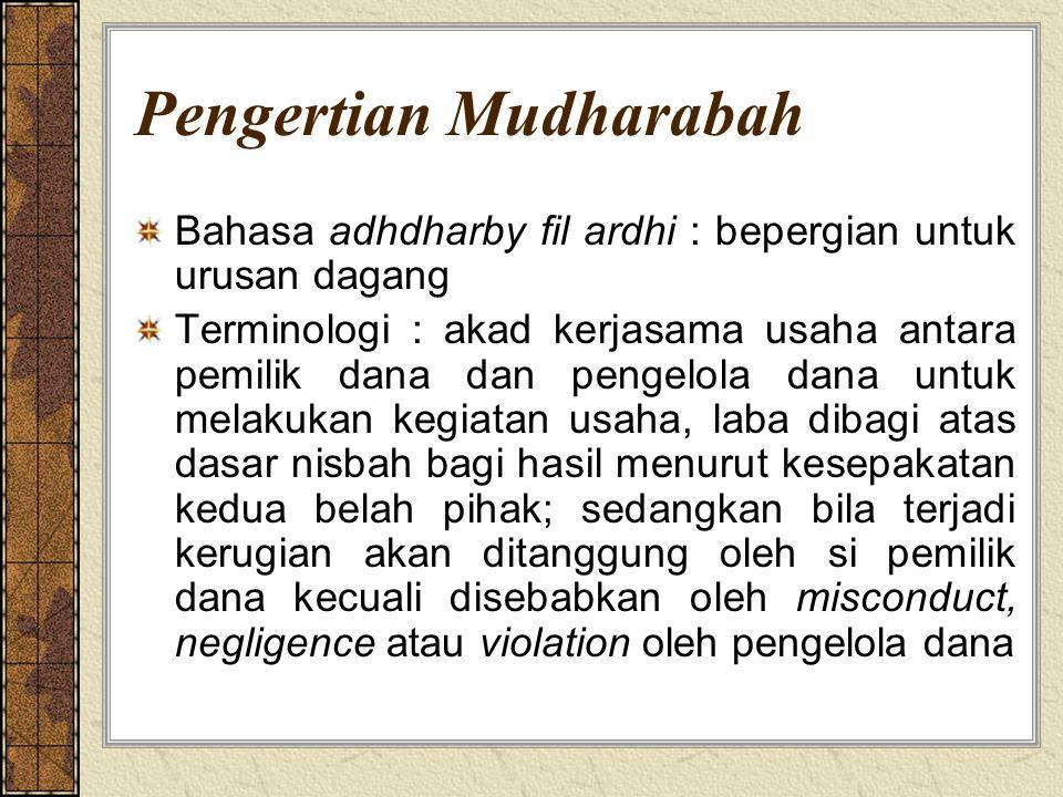 Pengertian Mudharabah Bahasa adhdharby fil ardhi : bepergian untuk urusan dagang Terminologi : akad kerjasama usaha antara pemilik dana dan pengelola