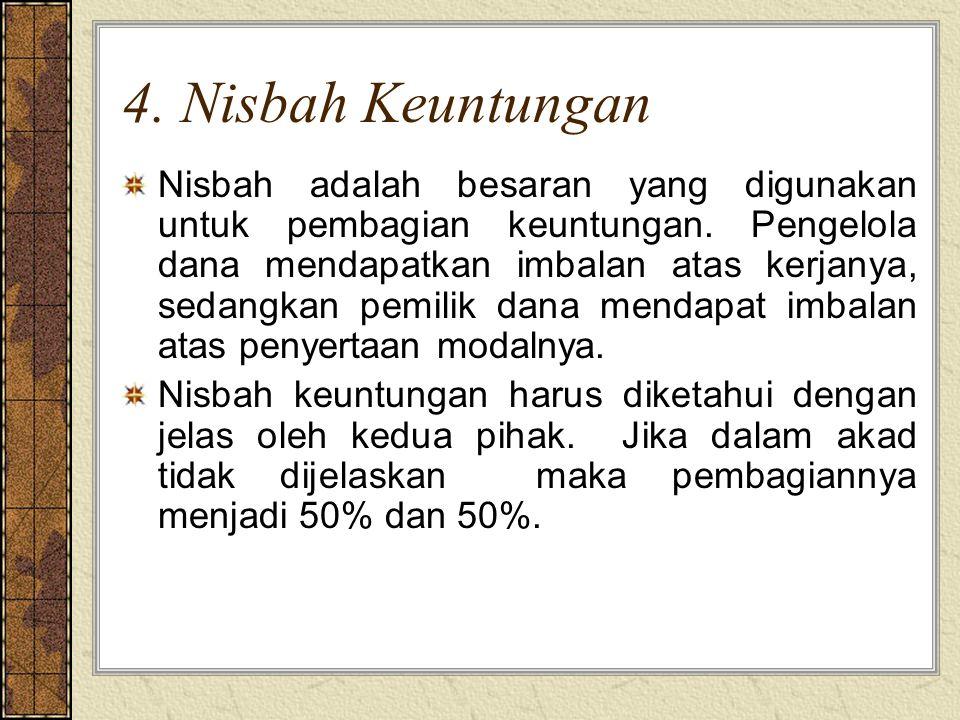 4. Nisbah Keuntungan Nisbah adalah besaran yang digunakan untuk pembagian keuntungan. Pengelola dana mendapatkan imbalan atas kerjanya, sedangkan pemi
