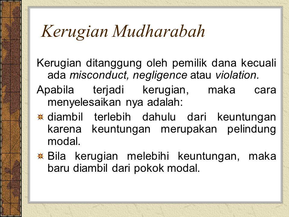 Kerugian Mudharabah Kerugian ditanggung oleh pemilik dana kecuali ada misconduct, negligence atau violation. Apabila terjadi kerugian, maka cara menye