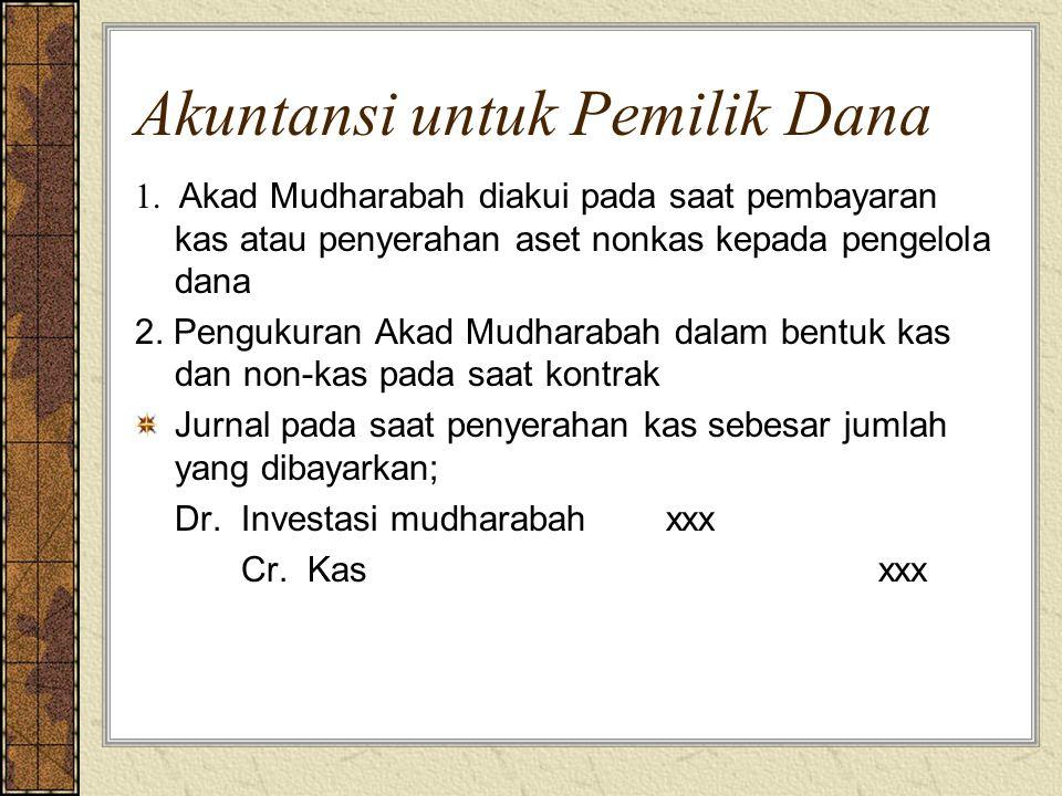 Akuntansi untuk Pemilik Dana 1. Akad Mudharabah diakui pada saat pembayaran kas atau penyerahan aset nonkas kepada pengelola dana 2. Pengukuran Akad M