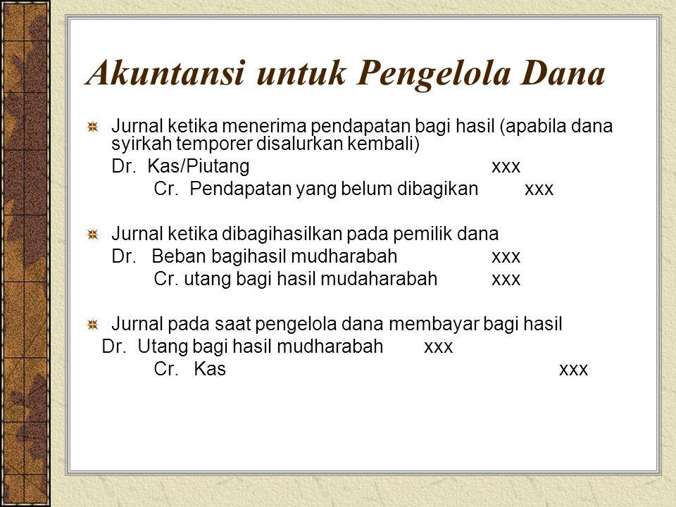 Akuntansi untuk Pengelola Dana Jurnal ketika menerima pendapatan bagi hasil (apabila dana syirkah temporer disalurkan kembali) Dr. Kas/Piutangxxx Cr.