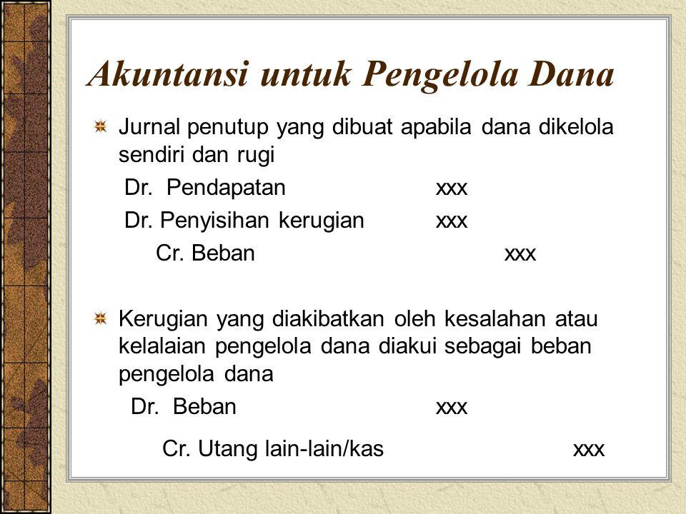 Akuntansi untuk Pengelola Dana Jurnal penutup yang dibuat apabila dana dikelola sendiri dan rugi Dr. Pendapatanxxx Dr. Penyisihan kerugianxxx Cr. Beba