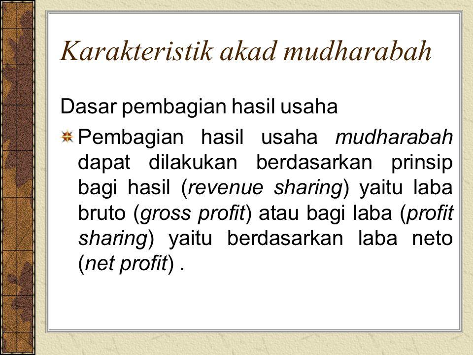 Contoh perhitungan bagi hasil Penjualan Rp 1.000.000 HPPRp 650.000 Laba kotorRp 350.000 Biaya-biayaRp 250.000 Laba (rugi) bersihRp 100.000 metode profit sharing dengan nisbah pemilik: pengelola = 30:70 - Pemilik : 30% x Rp 100.000 = Rp 30.000 - Pengelola: 70% x Rp 100.000 = Rp 70.000 metode revenue sharing dengan nisbah pemilik:pengelola=10:90 - Pemilik: 10% x Rp 350.000 = Rp 35.000 - Pengelola: 90% x Rp 350.000 = Rp 315.000