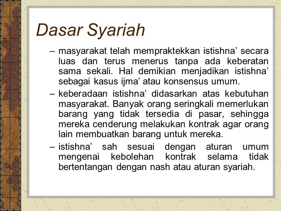 Dasar Syariah –masyarakat telah mempraktekkan istishna' secara luas dan terus menerus tanpa ada keberatan sama sekali.