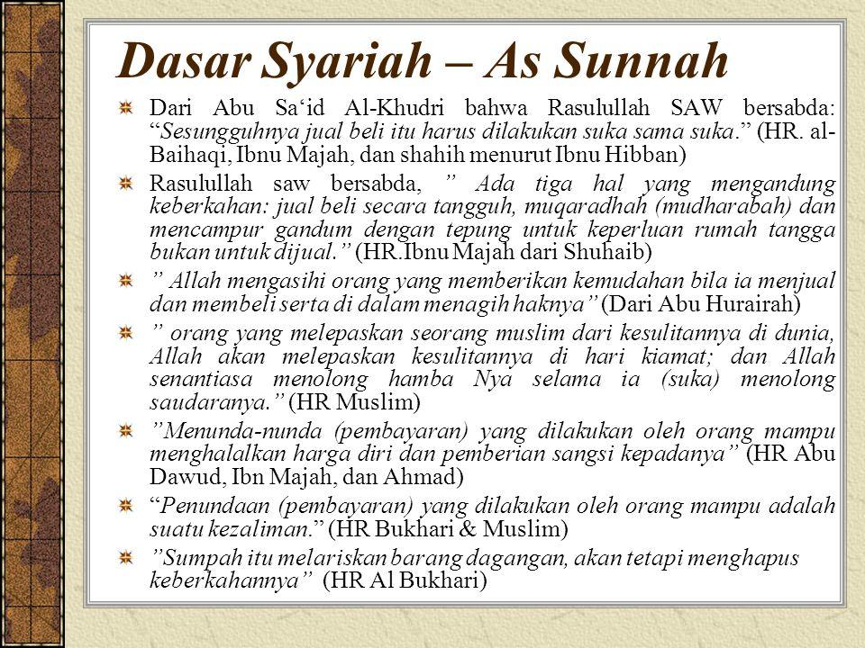 """Dasar Syariah – As Sunnah Dari Abu Sa'id Al-Khudri bahwa Rasulullah SAW bersabda: """"Sesungguhnya jual beli itu harus dilakukan suka sama suka."""" (HR. al"""