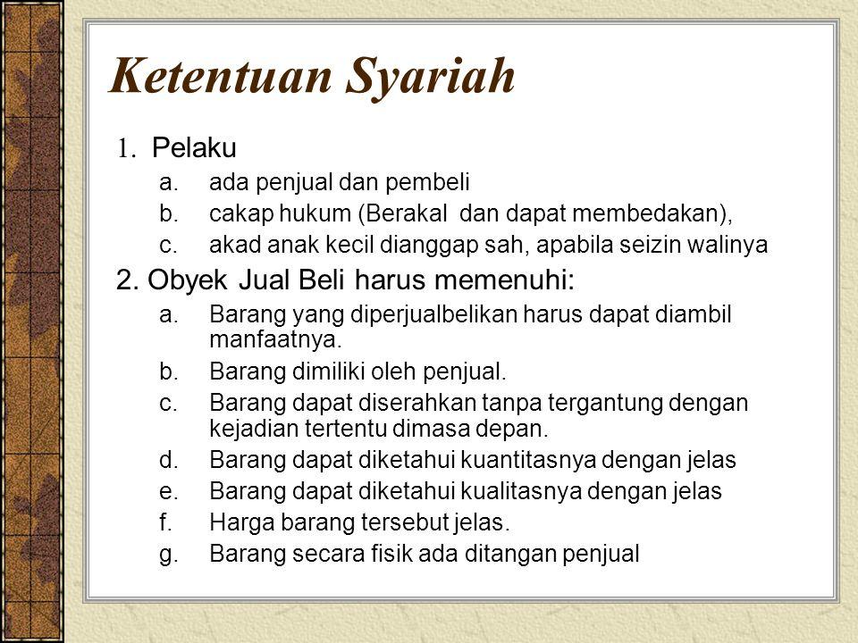 Ketentuan Syariah 1. Pelaku a.ada penjual dan pembeli b.cakap hukum (Berakal dan dapat membedakan), c.akad anak kecil dianggap sah, apabila seizin wal