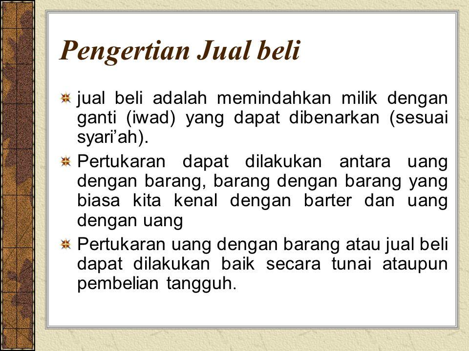 Pengertian Jual beli jual beli adalah memindahkan milik dengan ganti (iwad) yang dapat dibenarkan (sesuai syari'ah).