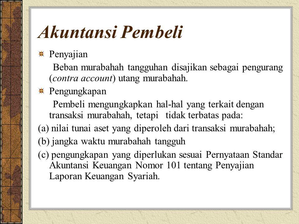 Akuntansi Pembeli Penyajian Beban murabahah tangguhan disajikan sebagai pengurang (contra account) utang murabahah.