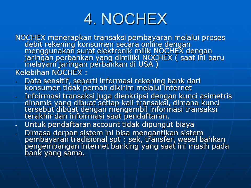 4. NOCHEX NOCHEX menerapkan transaksi pembayaran melalui proses debit rekening konsumen secara online dengan menggunakan surat elektronik milik NOCHEX