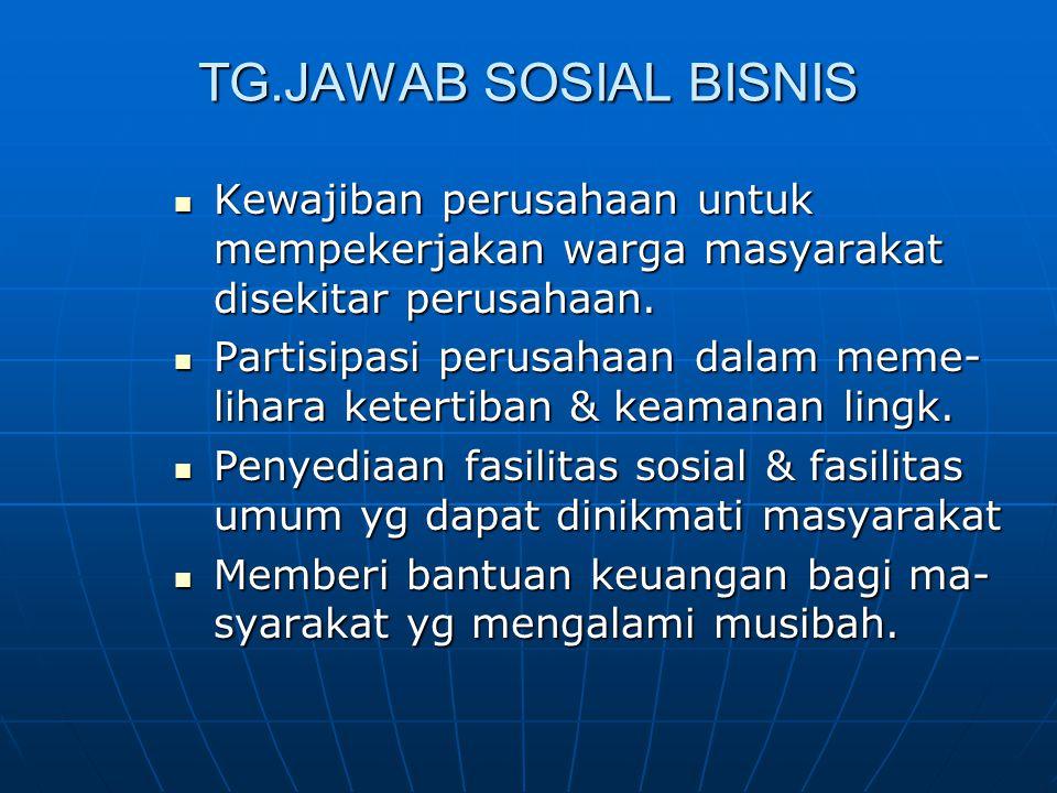 TG.JAWAB SOSIAL BISNIS Kewajiban perusahaan untuk mempekerjakan warga masyarakat disekitar perusahaan. Kewajiban perusahaan untuk mempekerjakan warga