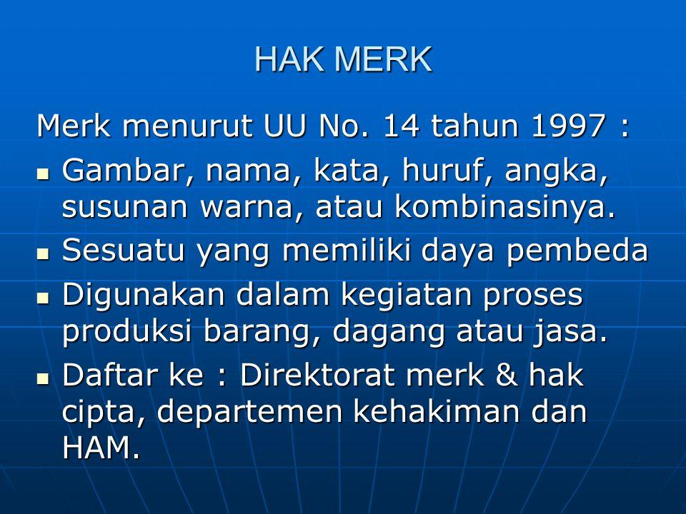HAK MERK Merk menurut UU No. 14 tahun 1997 : Gambar, nama, kata, huruf, angka, susunan warna, atau kombinasinya. Gambar, nama, kata, huruf, angka, sus