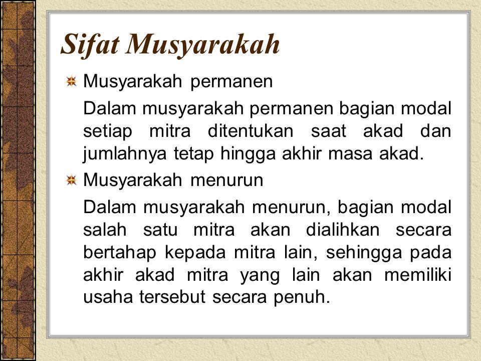 Sifat Musyarakah Musyarakah permanen Dalam musyarakah permanen bagian modal setiap mitra ditentukan saat akad dan jumlahnya tetap hingga akhir masa ak