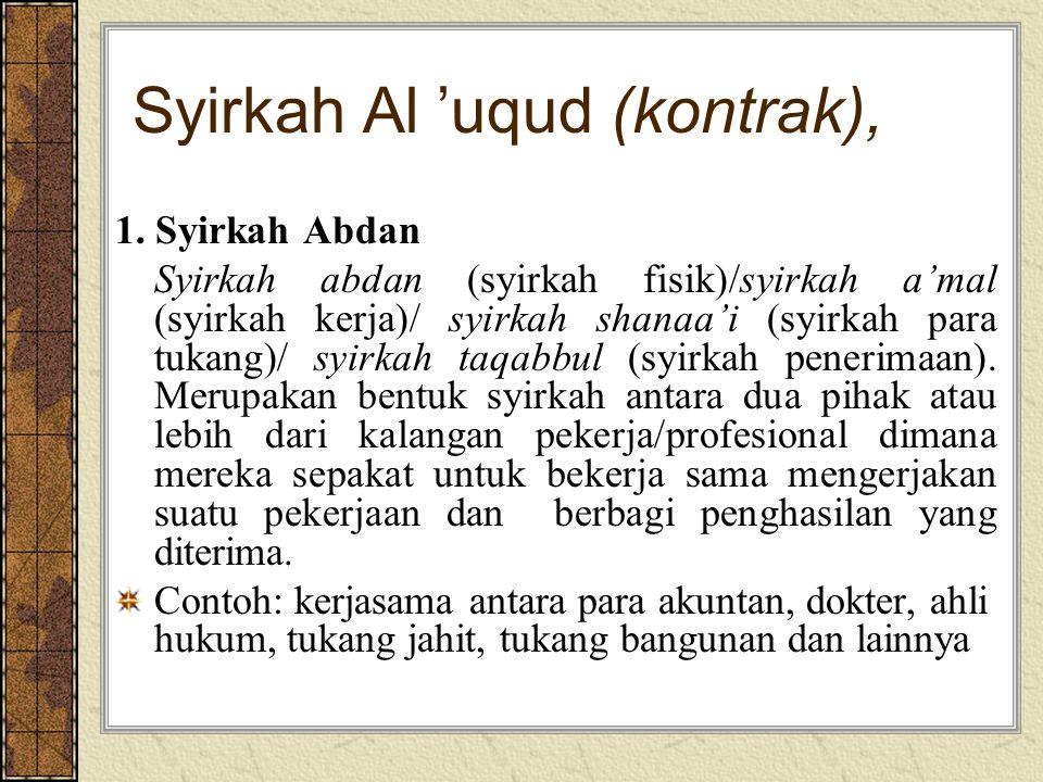 Syirkah Al 'uqud (kontrak), 1. Syirkah Abdan Syirkah abdan (syirkah fisik)/syirkah a'mal (syirkah kerja)/ syirkah shanaa'i (syirkah para tukang)/ syir