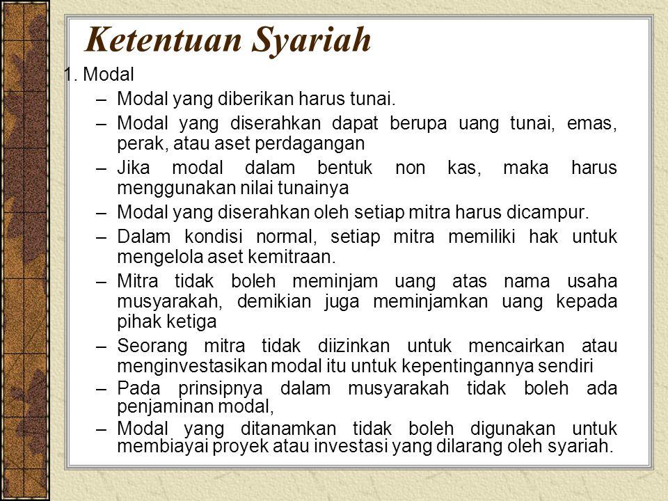 Ketentuan Syariah 1. Modal –Modal yang diberikan harus tunai. –Modal yang diserahkan dapat berupa uang tunai, emas, perak, atau aset perdagangan –Jika