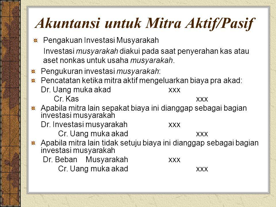 Akuntansi untuk Mitra Aktif/Pasif Pengakuan Investasi Musyarakah Investasi musyarakah diakui pada saat penyerahan kas atau aset nonkas untuk usaha mus