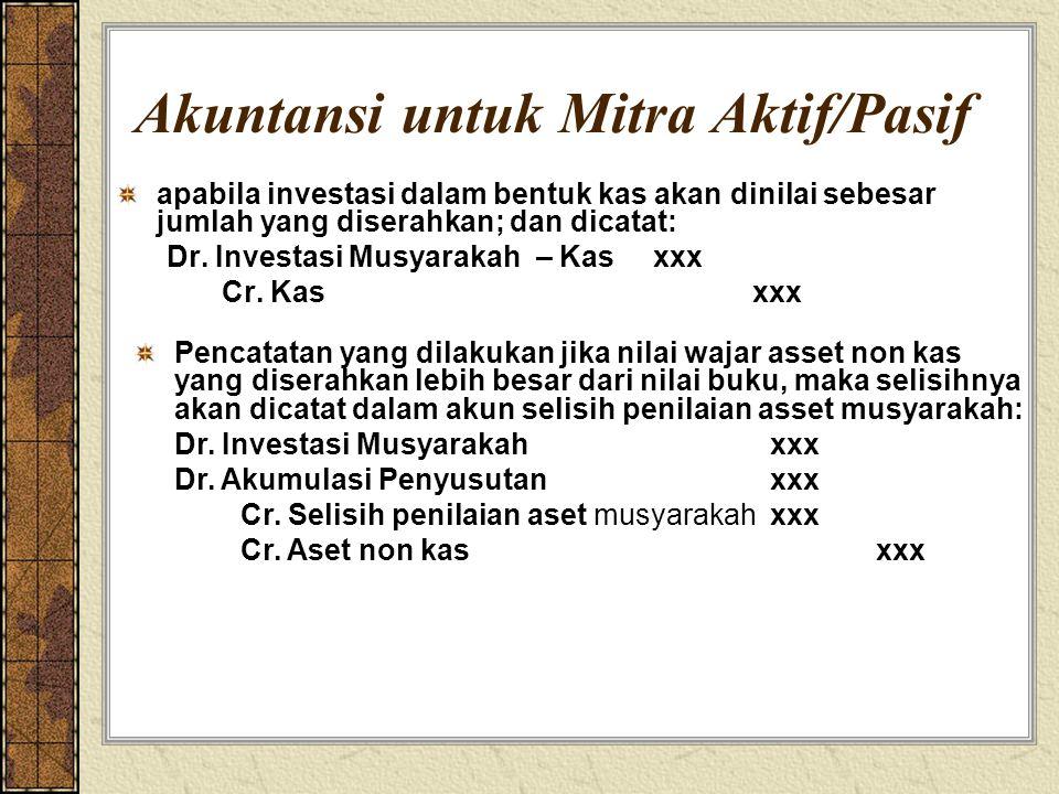 Akuntansi untuk Mitra Aktif/Pasif apabila investasi dalam bentuk kas akan dinilai sebesar jumlah yang diserahkan; dan dicatat: Dr. Investasi Musyaraka