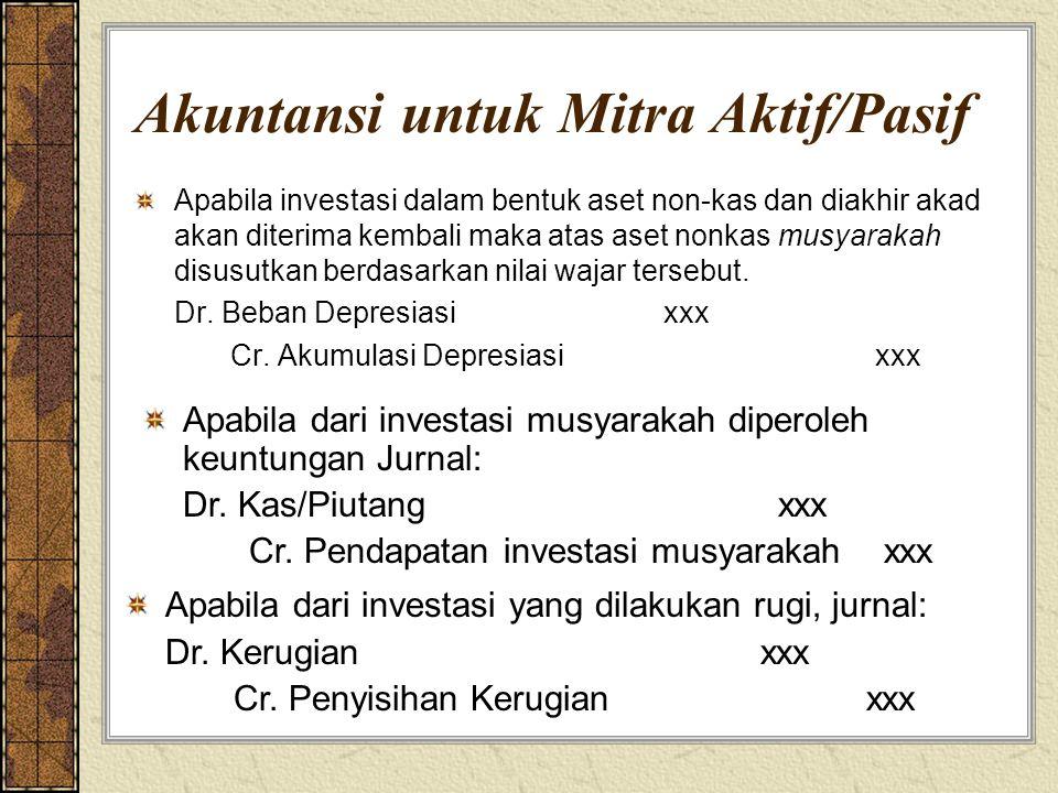 Akuntansi untuk Mitra Aktif/Pasif Apabila investasi dalam bentuk aset non-kas dan diakhir akad akan diterima kembali maka atas aset nonkas musyarakah