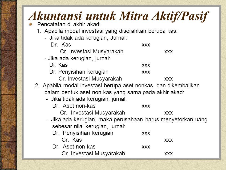 Akuntansi untuk Mitra Aktif/Pasif Pencatatan di akhir akad: 1. Apabila modal investasi yang diserahkan berupa kas: - Jika tidak ada kerugian, Jurnal: