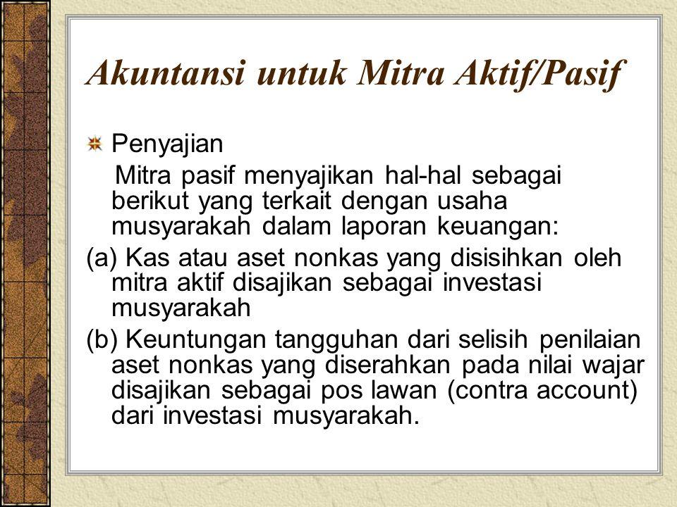 Akuntansi untuk Mitra Aktif/Pasif Penyajian Mitra pasif menyajikan hal-hal sebagai berikut yang terkait dengan usaha musyarakah dalam laporan keuangan