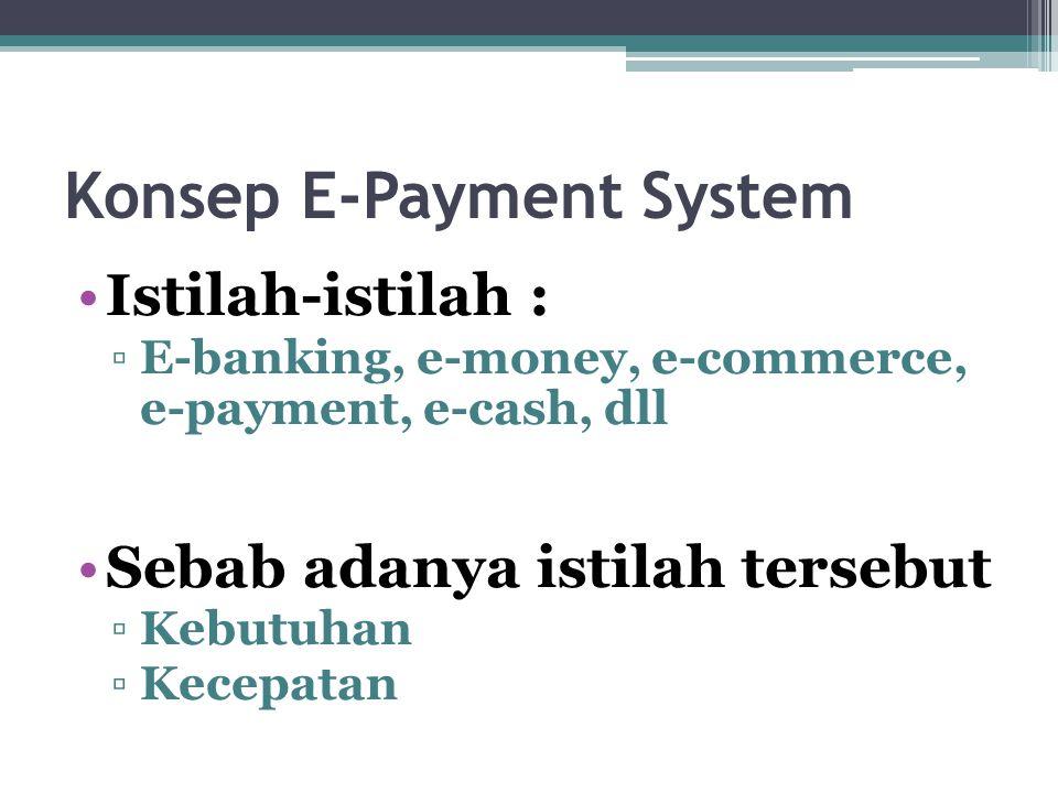 Konsep E-Payment System Istilah-istilah : ▫E-banking, e-money, e-commerce, e-payment, e-cash, dll Sebab adanya istilah tersebut ▫Kebutuhan ▫Kecepatan