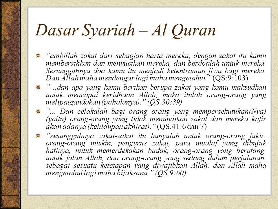 """Dasar Syariah – Al Quran """"ambillah zakat dari sebagian harta mereka, dengan zakat itu kamu membersihkan dan menyucikan mereka, dan berdoalah untuk mer"""