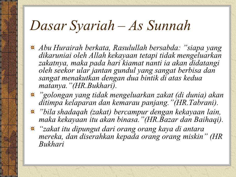 """Dasar Syariah – As Sunnah Abu Hurairah berkata, Rasulullah bersabda: """"siapa yang dikaruniai oleh Allah kekayaan tetapi tidak mengeluarkan zakatnya, ma"""
