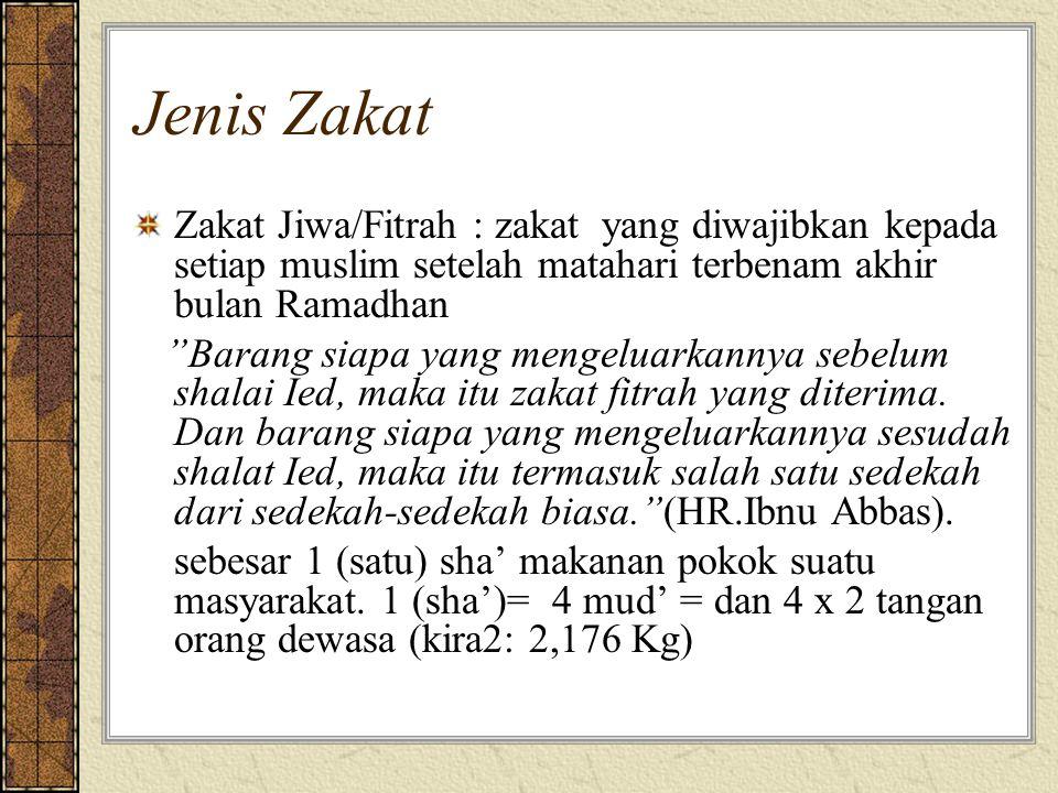 """Jenis Zakat Zakat Jiwa/Fitrah : zakat yang diwajibkan kepada setiap muslim setelah matahari terbenam akhir bulan Ramadhan """"Barang siapa yang mengeluar"""
