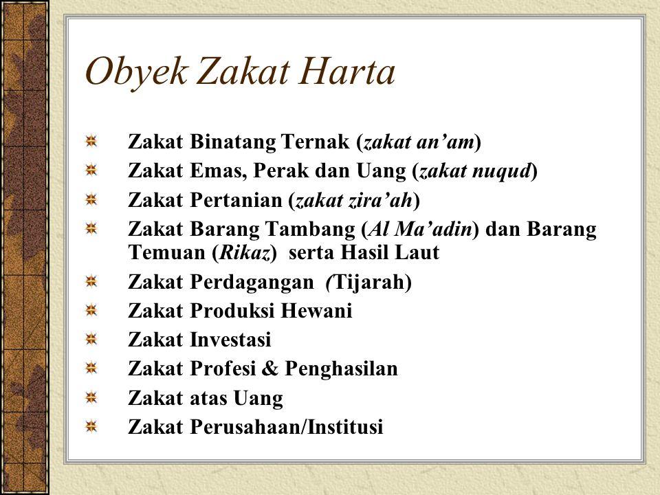 Obyek Zakat Harta Zakat Binatang Ternak (zakat an'am) Zakat Emas, Perak dan Uang (zakat nuqud) Zakat Pertanian (zakat zira'ah) Zakat Barang Tambang (A