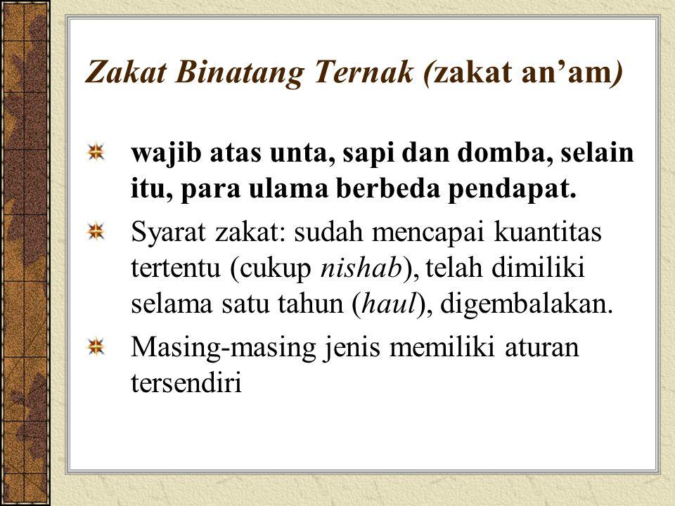 Zakat Binatang Ternak (zakat an'am) wajib atas unta, sapi dan domba, selain itu, para ulama berbeda pendapat. Syarat zakat: sudah mencapai kuantitas t