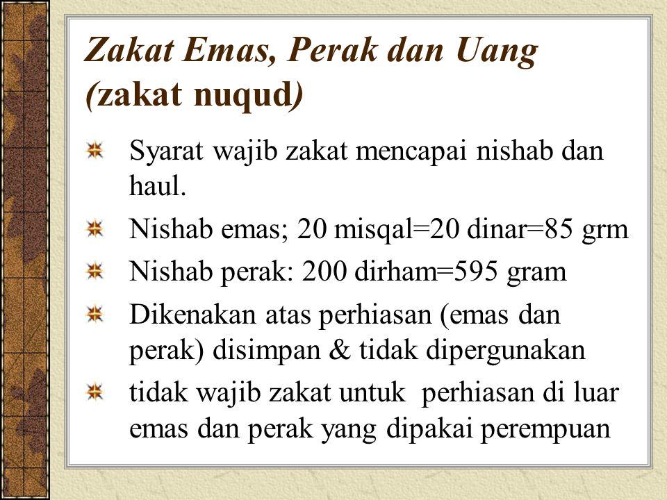 Zakat Emas, Perak dan Uang (zakat nuqud) Syarat wajib zakat mencapai nishab dan haul. Nishab emas; 20 misqal=20 dinar=85 grm Nishab perak: 200 dirham=