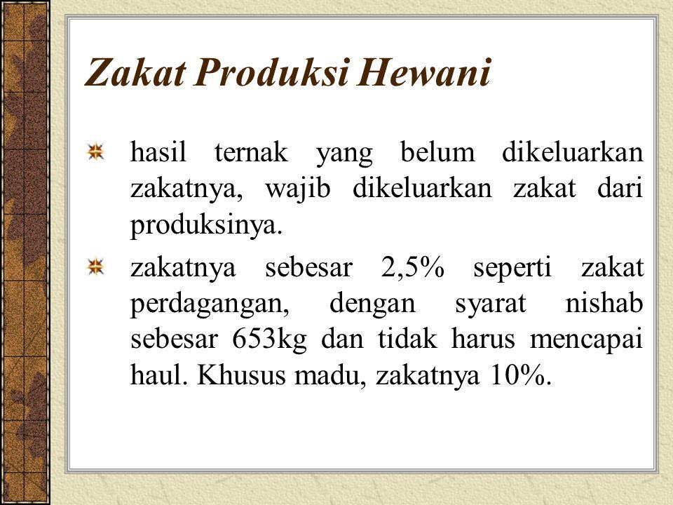 Zakat Produksi Hewani hasil ternak yang belum dikeluarkan zakatnya, wajib dikeluarkan zakat dari produksinya. zakatnya sebesar 2,5% seperti zakat perd