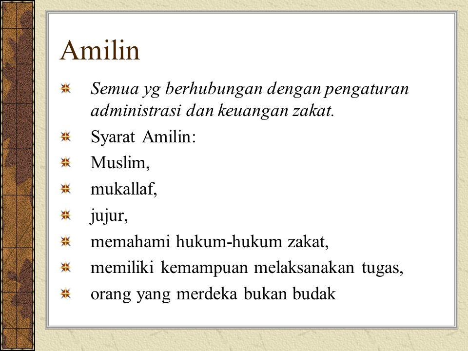 Amilin Semua yg berhubungan dengan pengaturan administrasi dan keuangan zakat. Syarat Amilin: Muslim, mukallaf, jujur, memahami hukum-hukum zakat, mem
