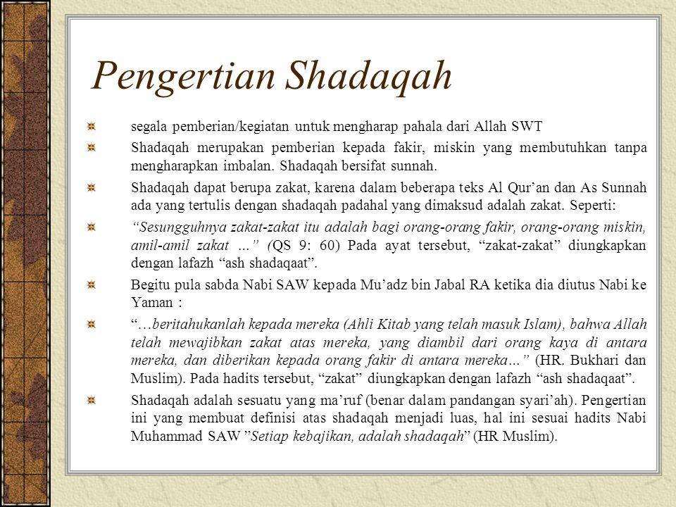 Pengertian Shadaqah dimensi yang sangat luas, tidak hanya berdimensi memberikan sesuatu dalam bentuk harta tetapi juga dapat berupa berbuat kebajikan, baik untuk diri sendiri maupun untuk orang lain, sesuai Hadits Nabi Muhammad SAW: Dari Abu Musa Al-Asyary R.A.