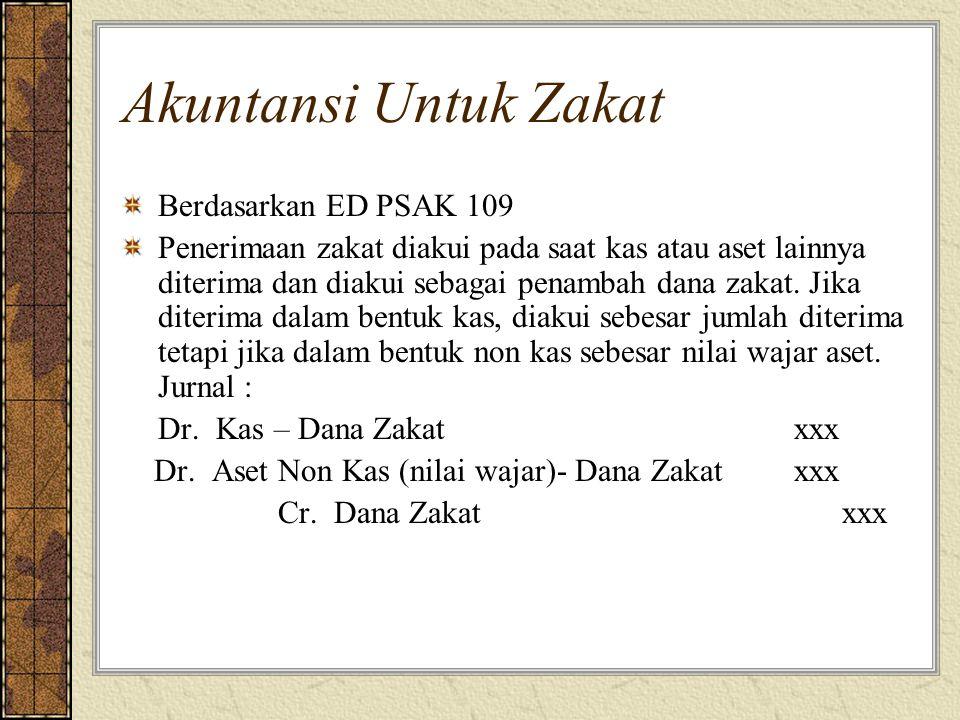 Akuntansi Untuk Zakat Berdasarkan ED PSAK 109 Penerimaan zakat diakui pada saat kas atau aset lainnya diterima dan diakui sebagai penambah dana zakat.