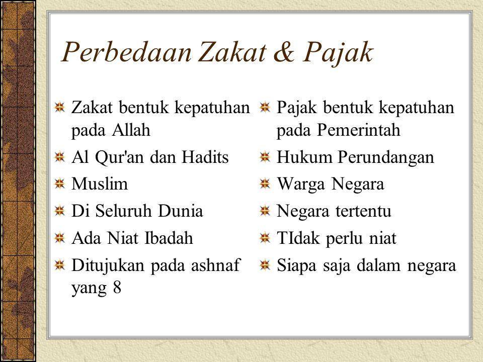 Perbedaan Zakat & Pajak Zakat bentuk kepatuhan pada Allah Al Qur'an dan Hadits Muslim Di Seluruh Dunia Ada Niat Ibadah Ditujukan pada ashnaf yang 8 Pa