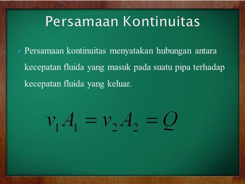  Persamaan kontinuitas menyatakan hubungan antara kecepatan fluida yang masuk pada suatu pipa terhadap kecepatan fluida yang keluar.