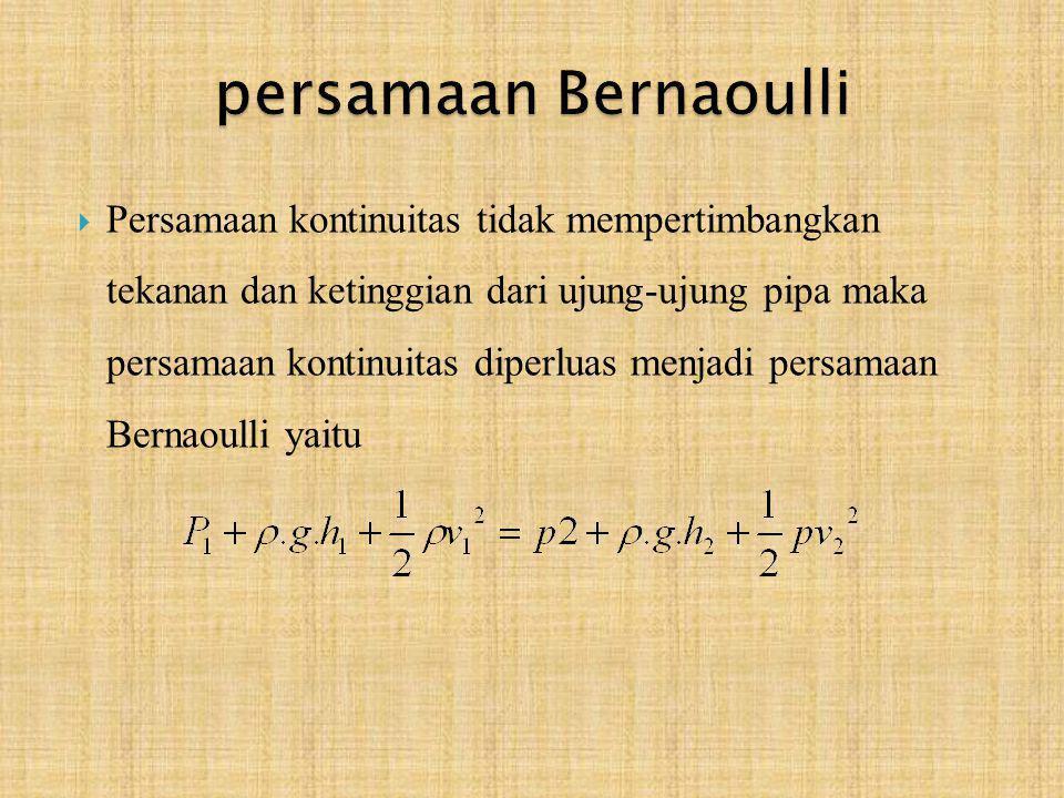  Persamaan kontinuitas tidak mempertimbangkan tekanan dan ketinggian dari ujung-ujung pipa maka persamaan kontinuitas diperluas menjadi persamaan Ber