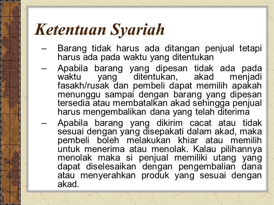 Ketentuan Syariah –Barang tidak harus ada ditangan penjual tetapi harus ada pada waktu yang ditentukan –Apabila barang yang dipesan tidak ada pada wak