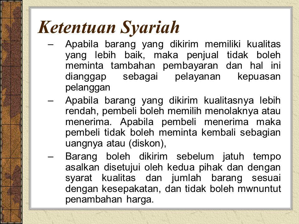 Ketentuan Syariah –Apabila barang yang dikirim memiliki kualitas yang lebih baik, maka penjual tidak boleh meminta tambahan pembayaran dan hal ini dia
