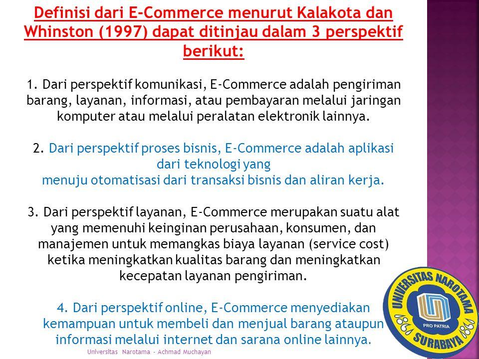 Definisi dari E-Commerce menurut Kalakota dan Whinston (1997) dapat ditinjau dalam 3 perspektif berikut: 1.