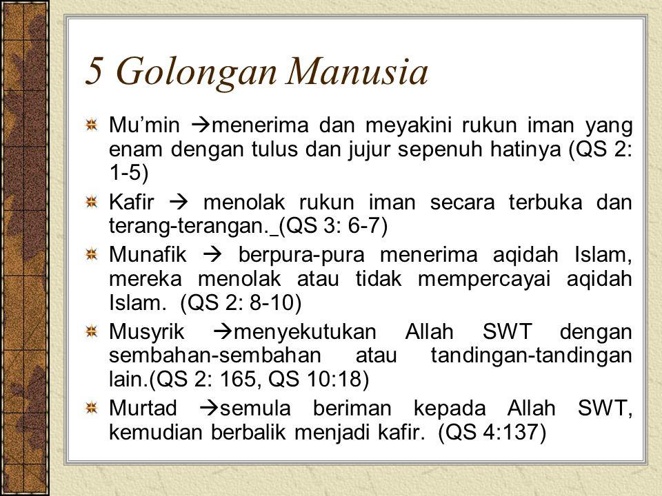 5 Golongan Manusia Mu'min  menerima dan meyakini rukun iman yang enam dengan tulus dan jujur sepenuh hatinya (QS 2: 1-5) Kafir  menolak rukun iman secara terbuka dan terang-terangan.