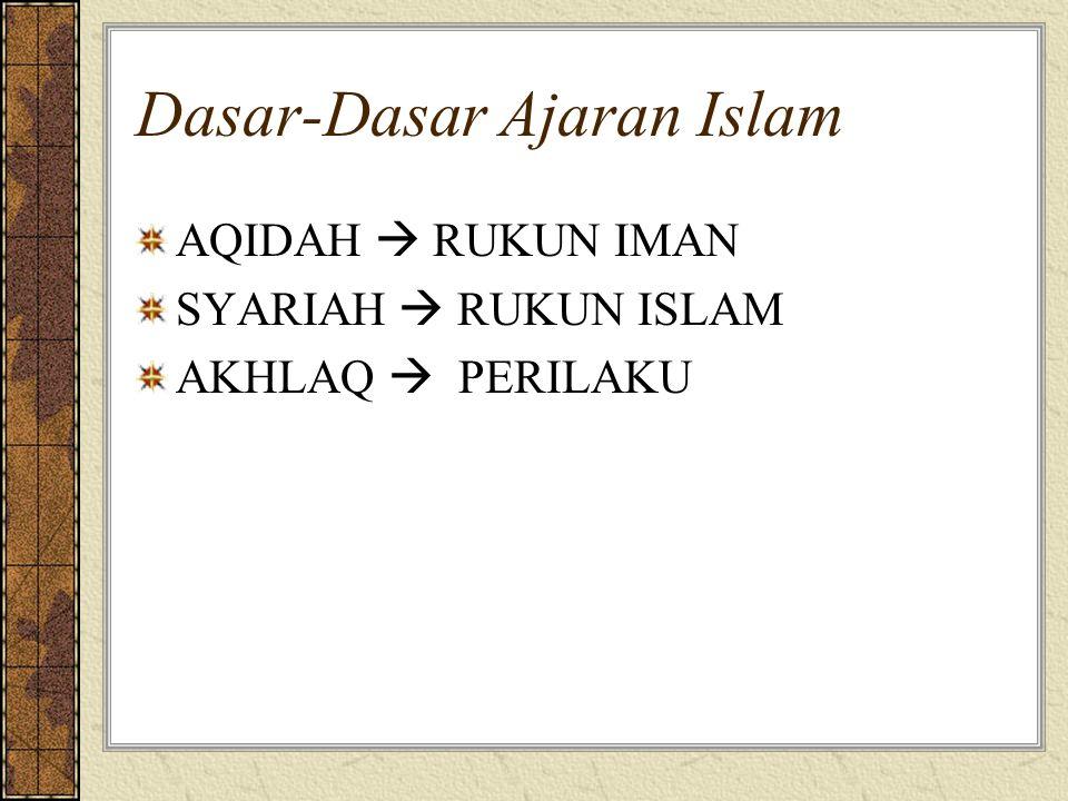 Dasar-Dasar Ajaran Islam AQIDAH  RUKUN IMAN SYARIAH  RUKUN ISLAM AKHLAQ  PERILAKU