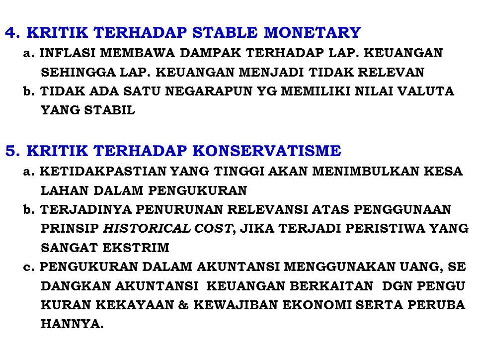 4.KRITIK TERHADAP STABLE MONETARY a. INFLASI MEMBAWA DAMPAK TERHADAP LAP.