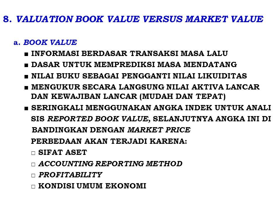8.VALUATION BOOK VALUE VERSUS MARKET VALUE a.